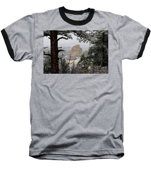 Monument Rock In The Snow Baseball T-Shirt
