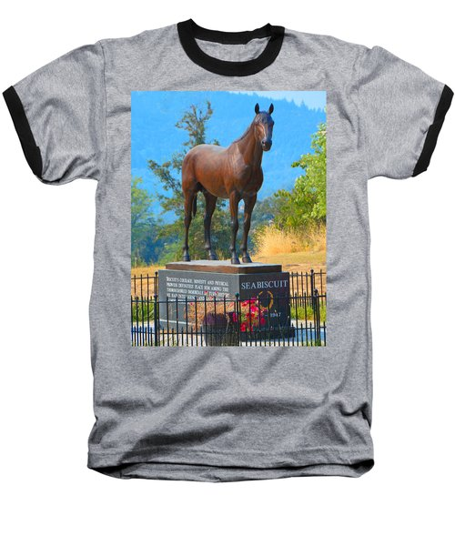 Monument To Seabiscuit Baseball T-Shirt