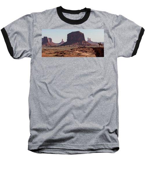 Monument Valley Man On Horse Sunrise  Baseball T-Shirt
