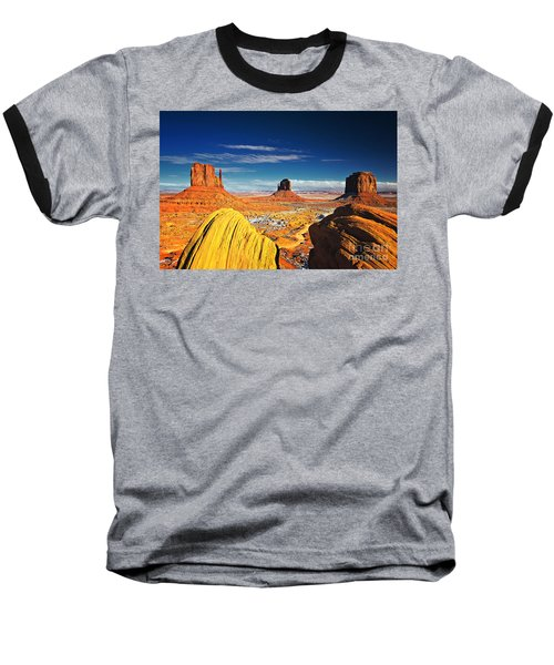 Monument Valley Mittens Utah Usa Baseball T-Shirt by Sam Antonio