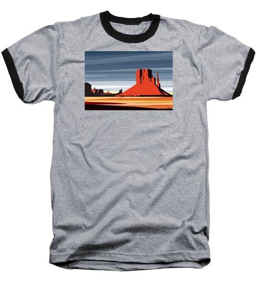 Monument Valley Sunset Digital Realism Baseball T-Shirt