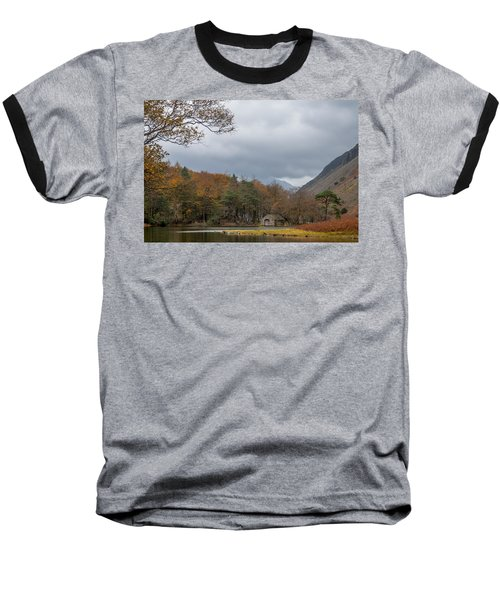 Moody Clouds Over A Boathouse On Wast Water In The Lake District Baseball T-Shirt