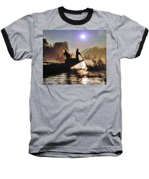 Moody River Silhouettes At Sunset Baseball T-Shirt