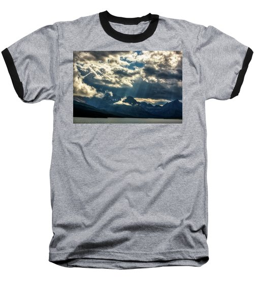 Moody Sunrays Over Glacier National Park Baseball T-Shirt