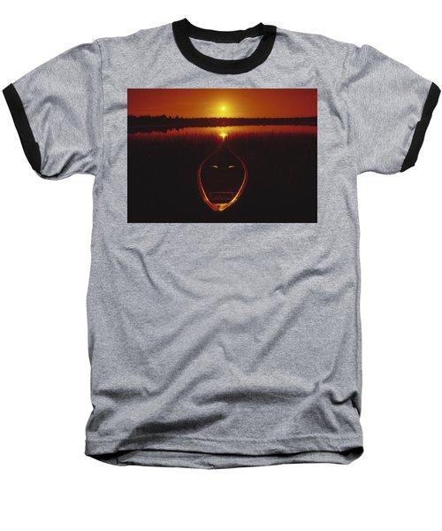 Moody Sunrise Lake Scene With Cedar Canoe Baseball T-Shirt