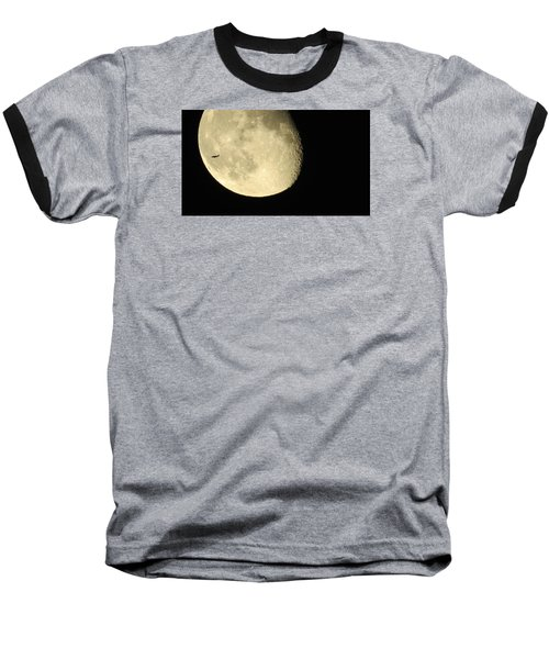 Baseball T-Shirt featuring the photograph Moon And Plane Over Sanibel by Melinda Saminski