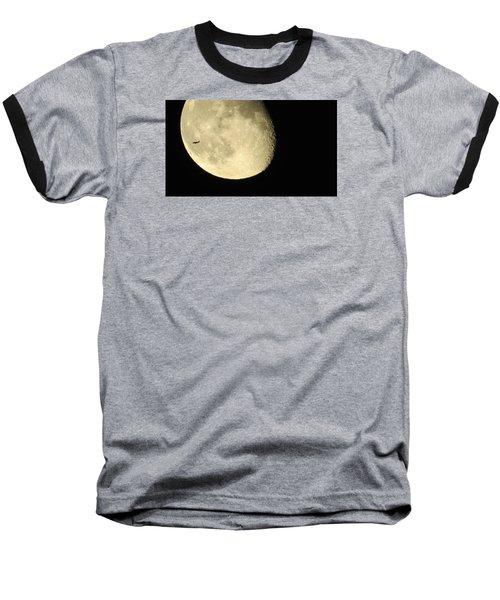 Moon And Plane Over Sanibel Baseball T-Shirt by Melinda Saminski