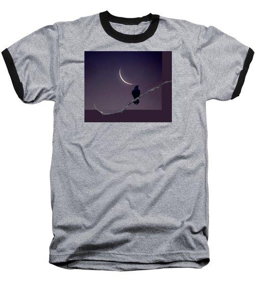 Moon And Raven Abstract Baseball T-Shirt by Deborah Moen