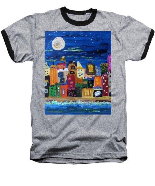 Moon And Sea Waves Baseball T-Shirt by Mary Carol Williams