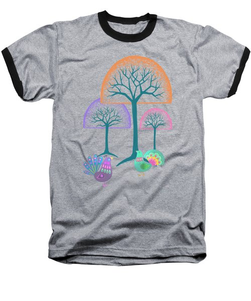 Moon Bird Forest Baseball T-Shirt