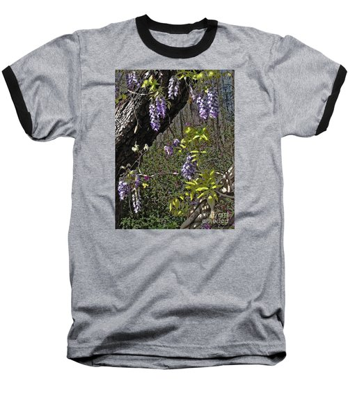 Baseball T-Shirt featuring the photograph Moon Glow Wisteria by Patricia L Davidson