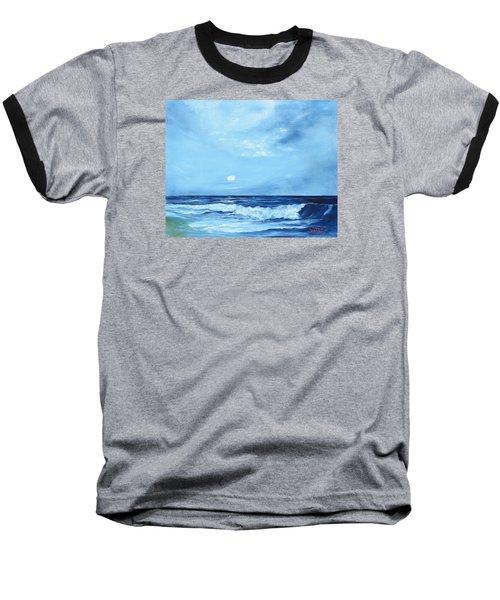 Moon Light Night Wave Baseball T-Shirt by Lloyd Dobson