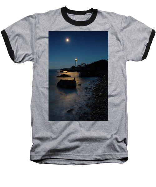 Baseball T-Shirt featuring the photograph Moon Light Over The Lighthouse  by Emmanuel Panagiotakis