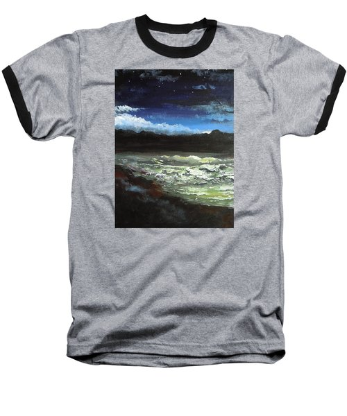 Baseball T-Shirt featuring the painting Moon Lit Sea by Dan Whittemore