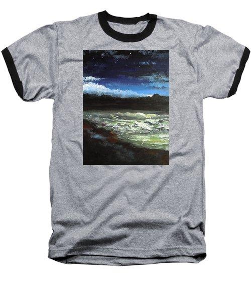 Moon Lit Sea Baseball T-Shirt by Dan Whittemore