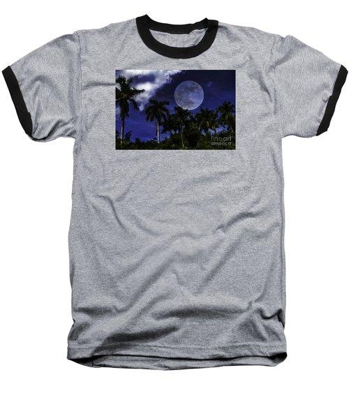 Baseball T-Shirt featuring the photograph Moon Over Belize by Ken Frischkorn