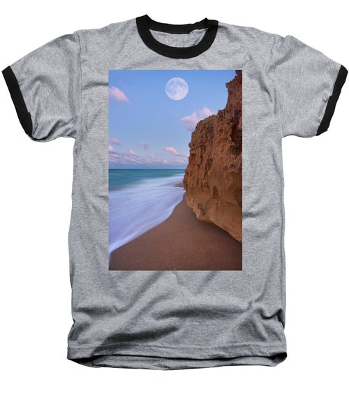 Moon Over Hutchinson Island Beach Baseball T-Shirt by Justin Kelefas