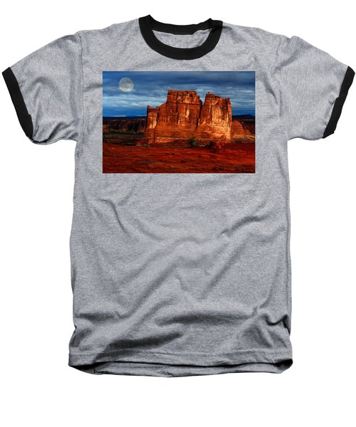 Baseball T-Shirt featuring the photograph Moon Over La Sal by Harry Spitz