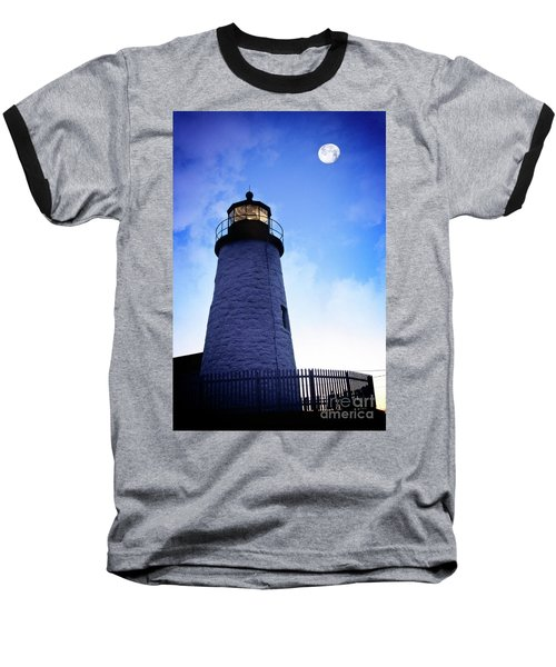 Moon Over Lighthouse Baseball T-Shirt
