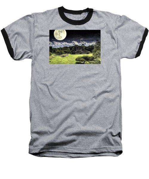 Baseball T-Shirt featuring the photograph Moon Over Mayan Temple One by Ken Frischkorn