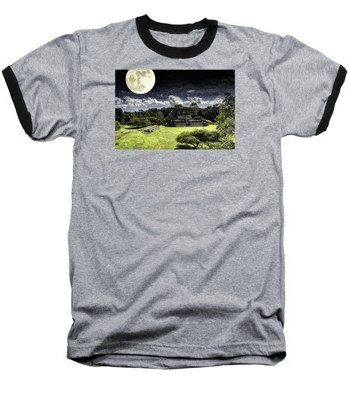 Moon Over Mayan Temple One Baseball T-Shirt