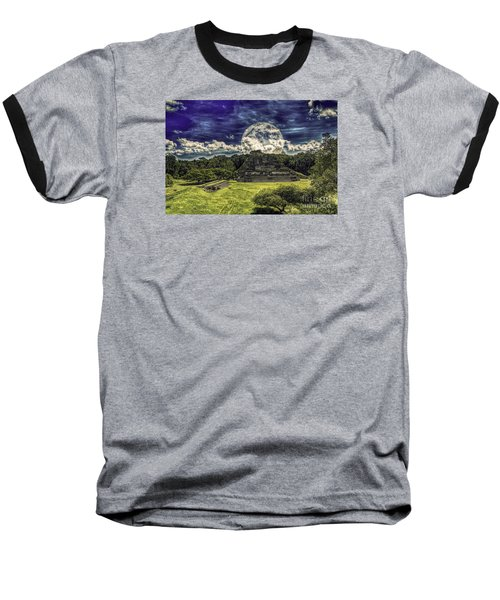 Baseball T-Shirt featuring the photograph Moon Over Mayan Temple Two by Ken Frischkorn