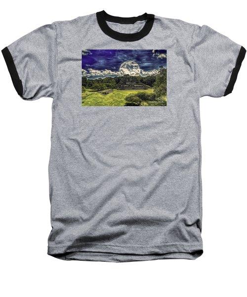 Moon Over Mayan Temple Two Baseball T-Shirt