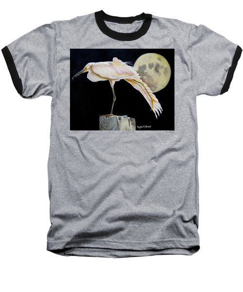 Baseball T-Shirt featuring the painting Moon Over Mississippi A Snowy Egrets Perspective by Phyllis Beiser
