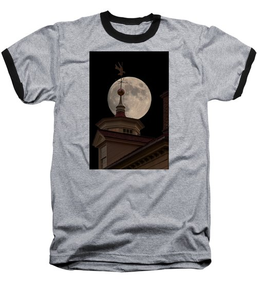 Moon Over Mount Vernon Baseball T-Shirt by Ed Clark
