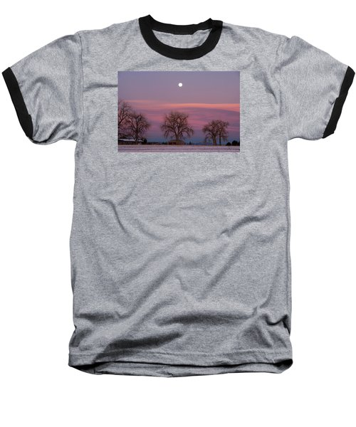 Baseball T-Shirt featuring the photograph Moon Over Pink Llouds by Monte Stevens
