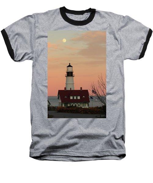 Moon Over Portland Head Lighthouse Baseball T-Shirt by Lou Ford