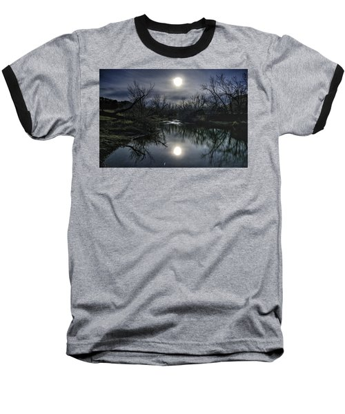Moon Over Sand Creek Baseball T-Shirt by Fiskr Larsen