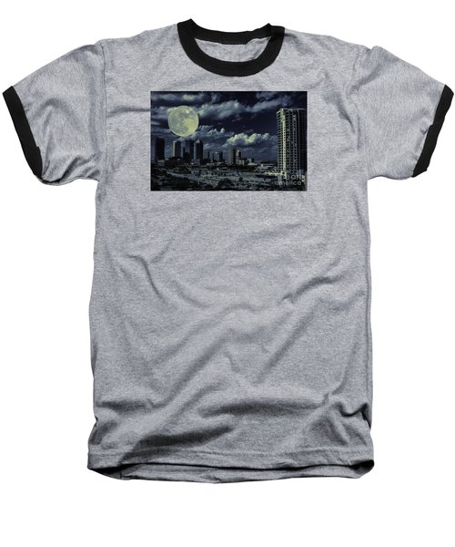 Baseball T-Shirt featuring the photograph Moon Over Tampa Two by Ken Frischkorn