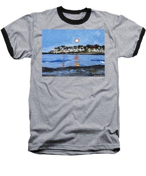 Moon Over York Beach Baseball T-Shirt