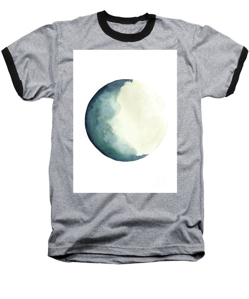 Moon Phases Watercolour Painting, Blue Vanilla Beige Crescent Moon Art, Luna Astrology Print Baseball T-Shirt