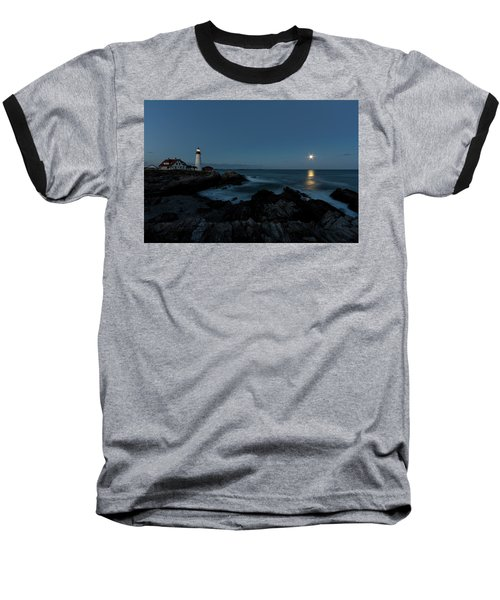 Moon Rise At Portland Headlight Baseball T-Shirt