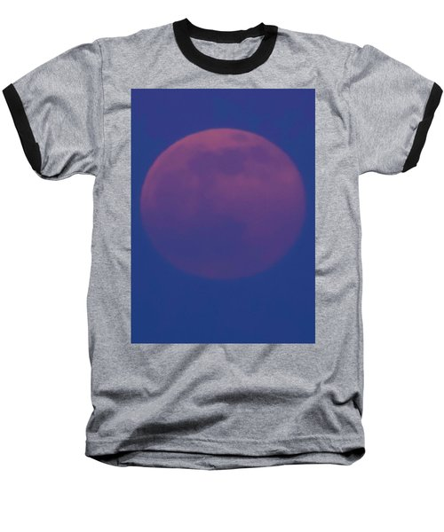 Moon Rise Blue Baseball T-Shirt by Michael Nowotny