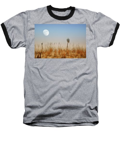 Moon Rise Snowy Owl Baseball T-Shirt