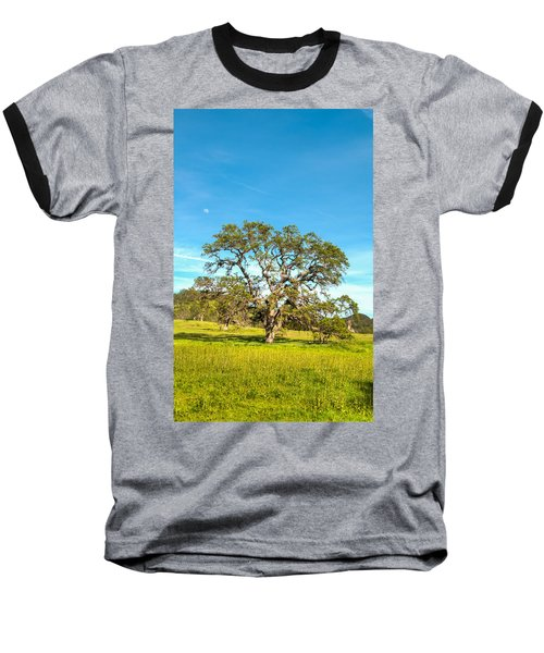 Moon Rising Meadow With Wild Flowers Baseball T-Shirt