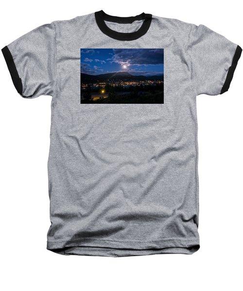 Moon Rising Over Breckenridge Baseball T-Shirt by Michael J Bauer
