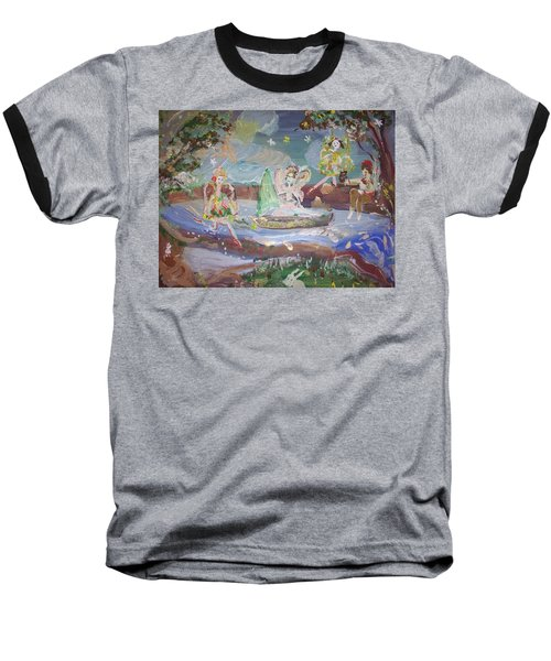Moon River Fairies Baseball T-Shirt by Judith Desrosiers