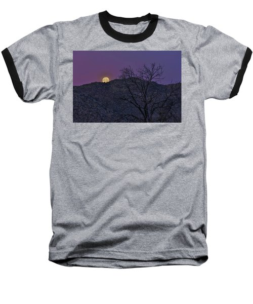 Moon Set At Sunrise Baseball T-Shirt