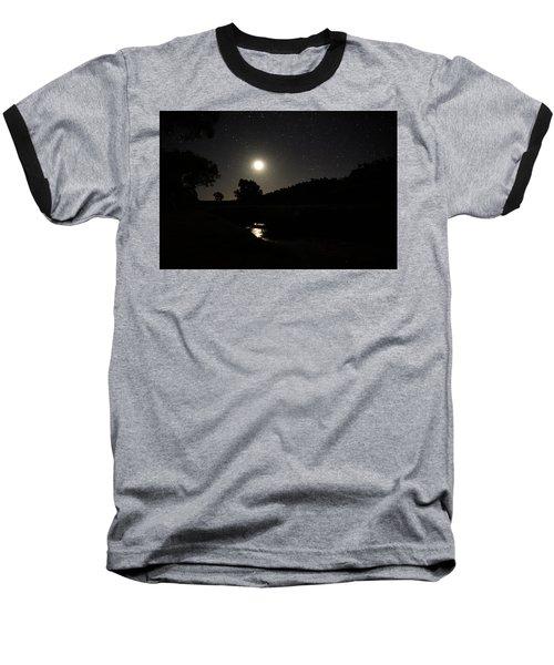 Moon Set Over Palm Valley 2 Baseball T-Shirt by Paul Svensen