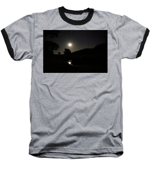 Moon Set Over Palm Valley 2 Baseball T-Shirt
