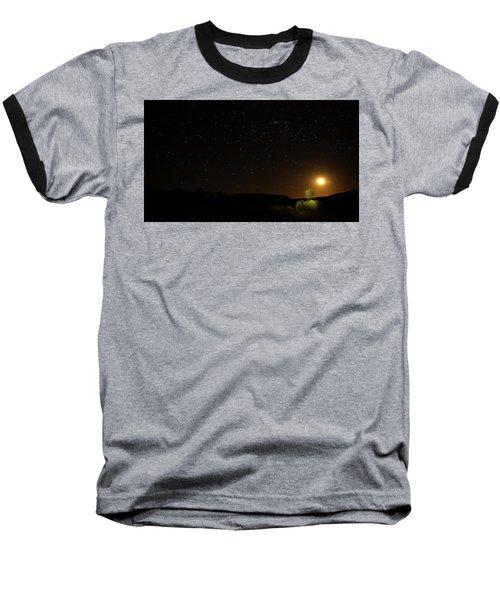 Moon Set Over Palm Valley Baseball T-Shirt