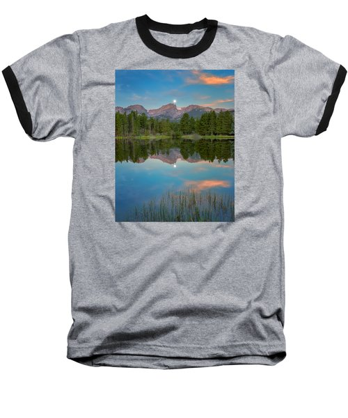 Full Moon Set Over Sprague Lake Baseball T-Shirt