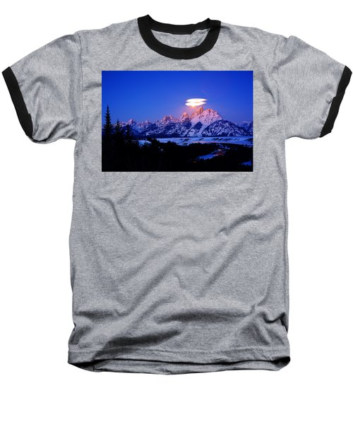Moon Sets At The Snake River Overlook In The Tetons Baseball T-Shirt by Raymond Salani III