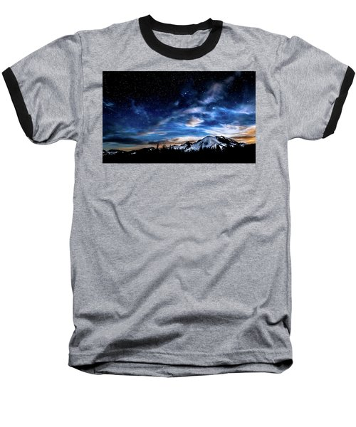 Moon Setting Behind Mt Rainier  Baseball T-Shirt