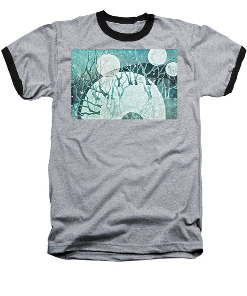 Baseball T-Shirt featuring the painting Moon Shadows by Carolyn Rosenberger