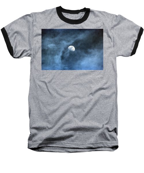 Moon Smoke Baseball T-Shirt by David Stasiak